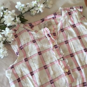 🍃🌸{LOFT}: Plaid Gold Shimmer Blouse🌸🍃